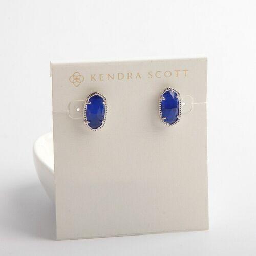 Kendra Scott Ellie Silver Stud Earrings in Cobalt with Dust Bag