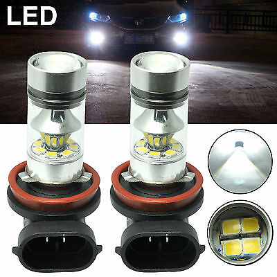 2x H11 H8 LED Fog Light 100W Samsung 2323 Projector Driving DRL 6000k White Bulb