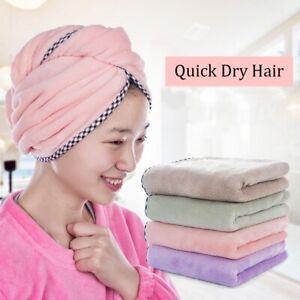 Microfiber Bathing Striped Dry Hair Cap Turban Wrap Towel Hat Hair-drying