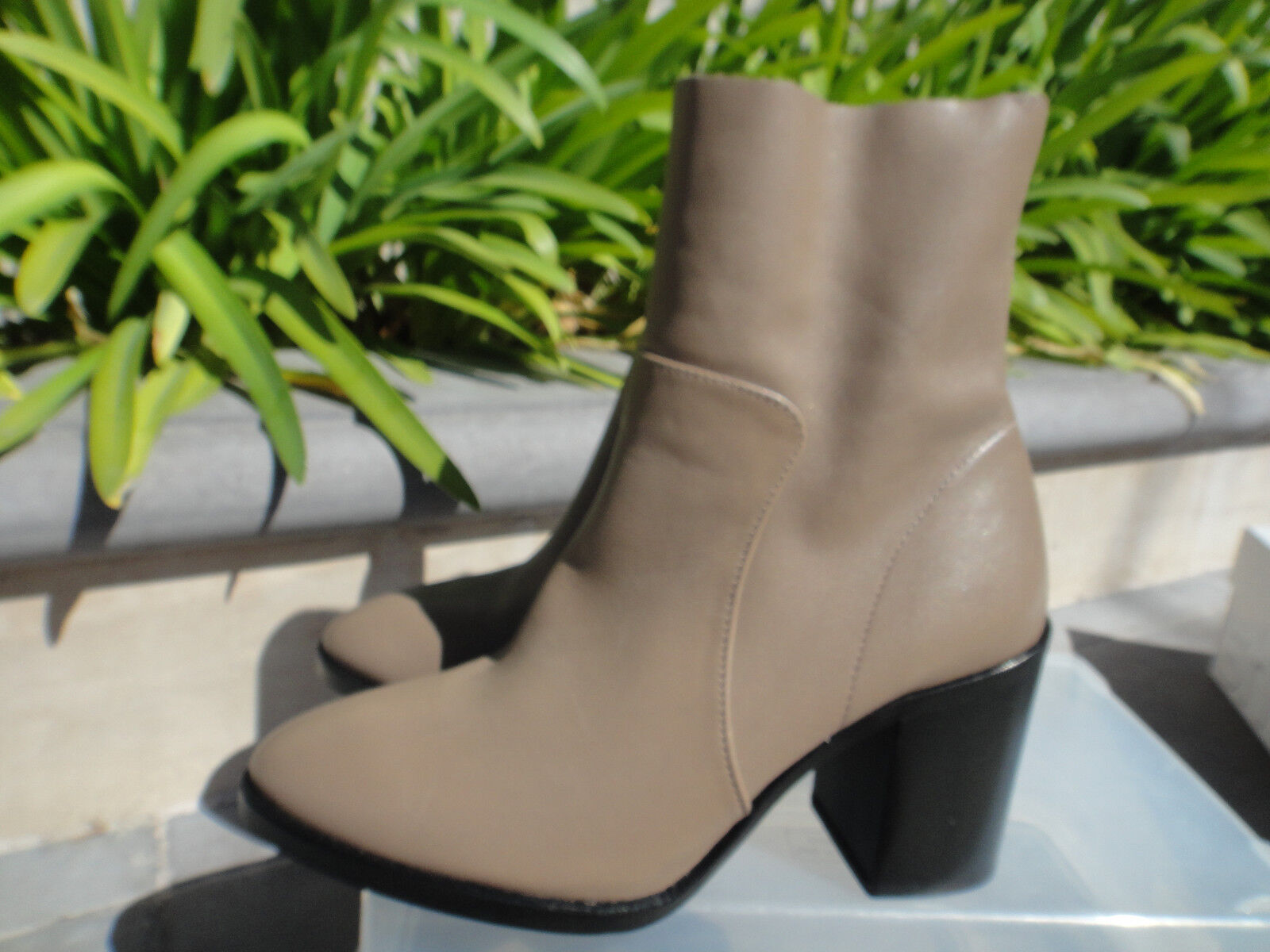 Topshop MILLION SOCK Leather Ankle Boots Pointy Toe Taupe, US Sz 6.5, EU38  150