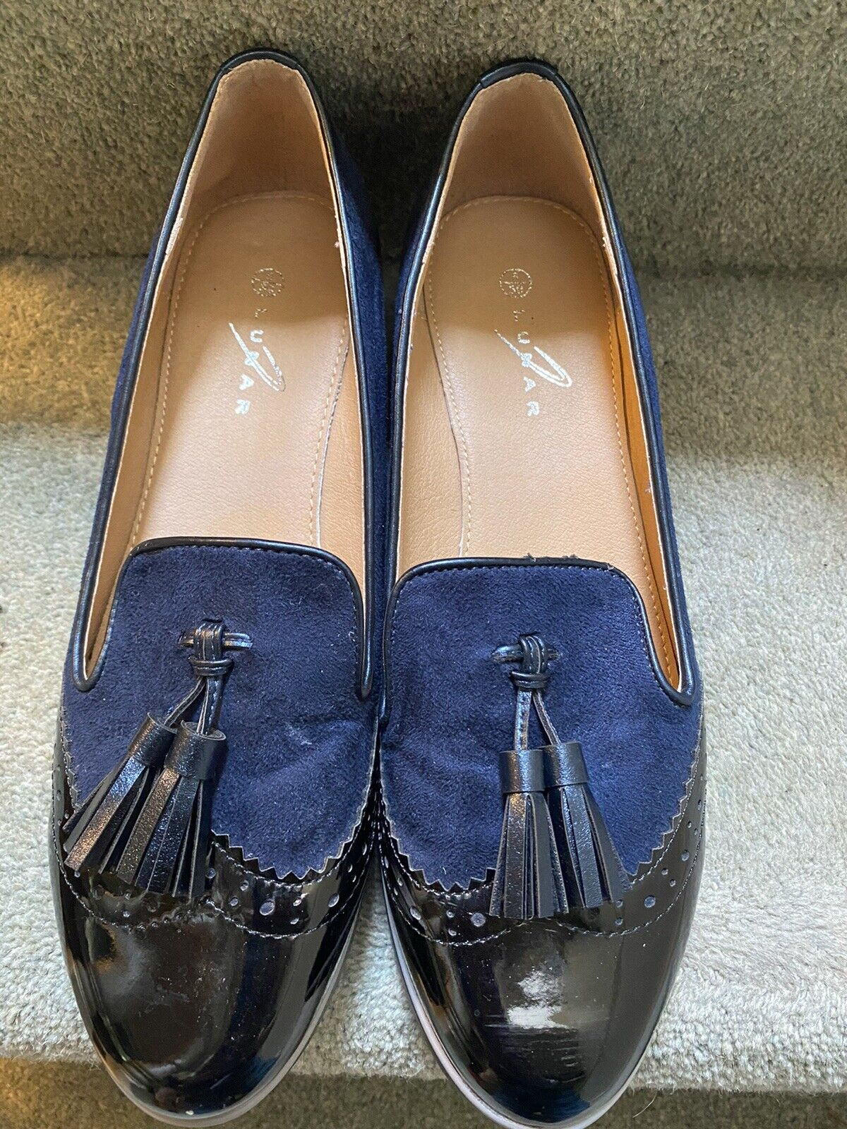 Lunar Navy Slip On Wedge Shoes Size 6 Used