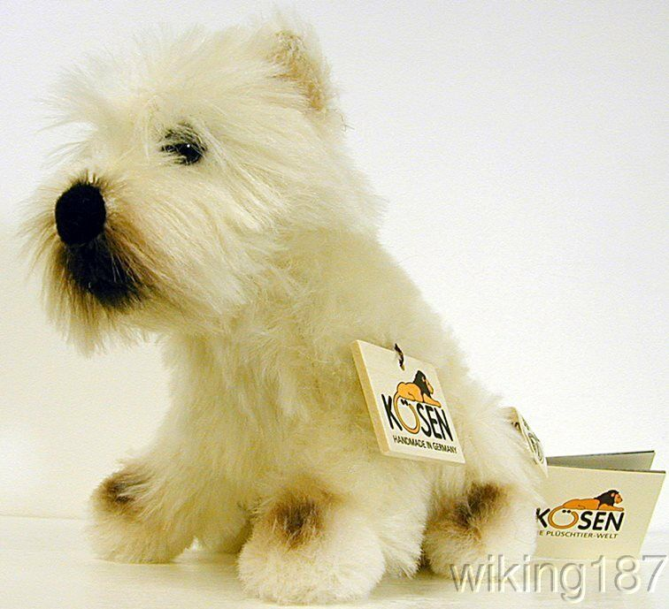 KOSEN Made in Germany NEW Mohair bianca West Highland Terrier Dog Plush Toy