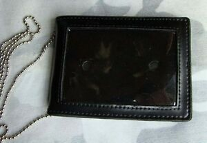 Black-Leather-Badge-ID-Card-Wallet-Holder-Case-With-Neck-Chain-MH189
