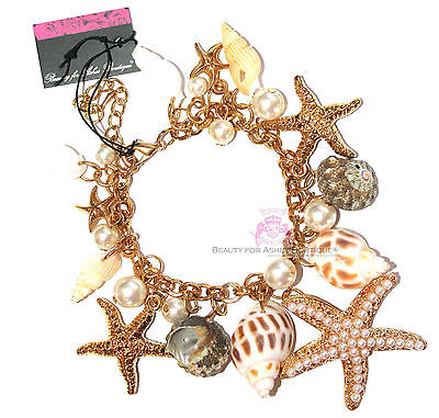 Beauty for Ashes Sea Shell Charms Faux Pearl Gold Starfish Bracelet Lobster Claw