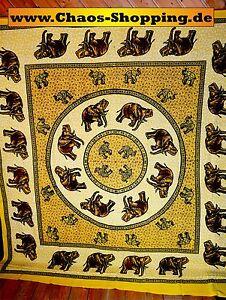 Wandtuch-Tagesdecke-Wandbehang-Elefant-Gelb