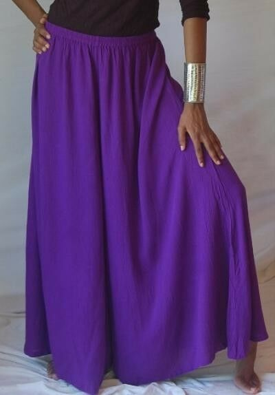 Purple palazzo pants split skirt gaucho L XL 1X 2X ONE SIZE zy821