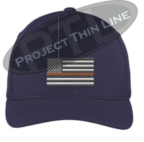 Thin ORANGE Line American Flag Search Rescue Coast Guard Flex Fit TRUCKER HAT