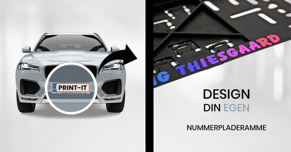 Nummerpladeholder med eget navn eller logo