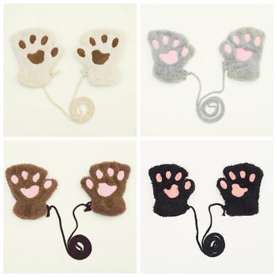 Winter Thicken Baby Gloves Bear Claw Plush Mittens Kids Short Finger Half Gloves