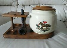 VINTAGE DECATUR WALNUT WOOD 6 TOBACCO PIPE HOLDER  STAND RACK ceramic Jar