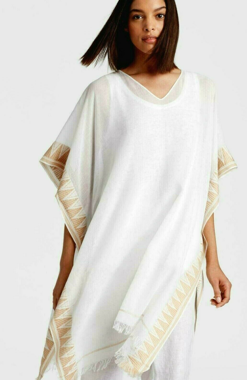 NWT Eileen Fisher Weiß Exclusive Handwoven Organic Cotton V-Neck Poncho O S