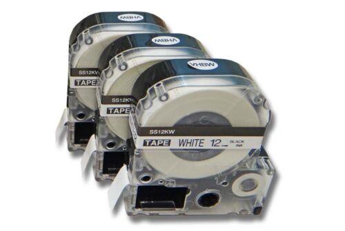 3x Premium SCHRIFTBAND KASSETTE 12mm SCHWARZ-WEIß für EPSON LabelWorks LW-600P