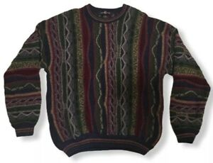VTG-Cotton-Traders-90-039-s-COOGI-Style-Bill-Cosby-Biggie-Hip-Hop-3d-Texturiert-Pullover-M