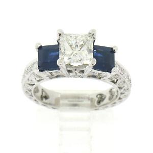 18K-Gold-4-29ctw-GIA-Princess-Cut-Diamond-amp-Sapphire-Three-Stone-Engagement-Ring