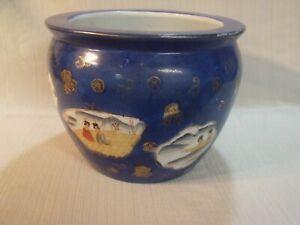 Vintage-Japanese-Fish-Bowl-Hand-Painted-Ceramic-Jardiniere-With-Geisha-Scenes