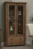 Brooklyn solid oak living room furniture glass display cabinet unit