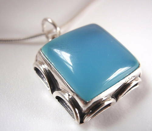 Blue Chalcedony Sterling Silver Pendant Corona Sun Jewelry Rope Style Accents
