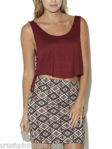 3b806b99d139fc Arden B. Cabernet Lightweight Lace Up Crop Tank Top Size Large L NWT ...