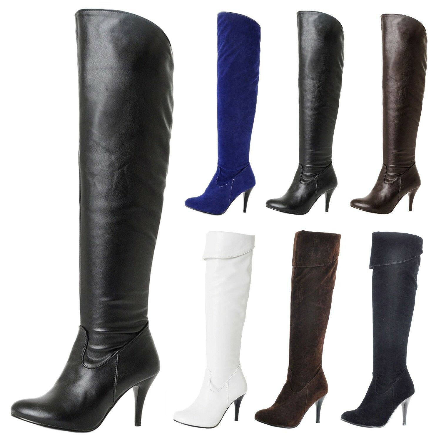 Over Knee boots Dancing Riding Slimming ladies party Stiletto Heel shoes UK 1-13