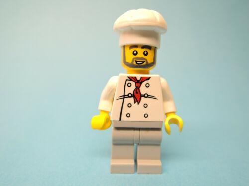 Lego Figur Town Koch weiße Kochmütze Bart graue Hose twn120  10216