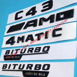 "Gloss Black /""C43 AMG 4MATIC V8 BITURBO 4MATIC/"" Emblem Sticker for Mercedes-Benz"