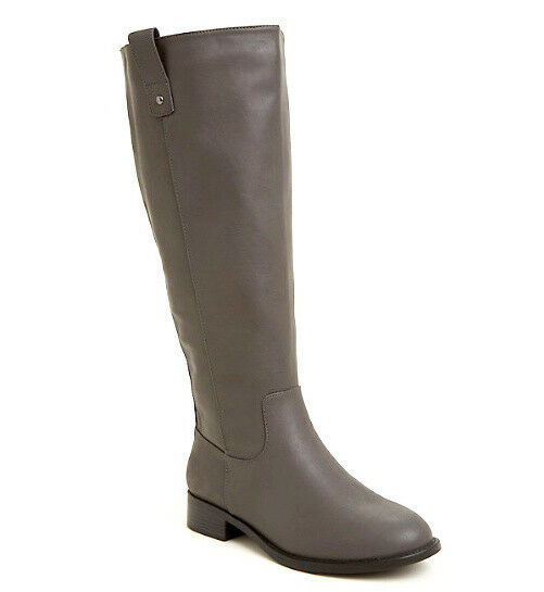 TORRID 79 Gray Faux Leather BOOTS Womens US 9 W WIDE CALF Knee High Zip NEW