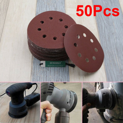 50 x 125MM Orbit Sanding Sand Paper Velcro Discs 40 60 80 120 180 Grit Sander