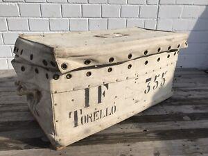 Vintage-Reisekoffer-Segeltuch-Boot-Faltkiste-Uberseekoffer-Loft-Truhe-Koffer