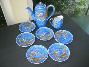 Vintage-MANNA-China-Moriage-Dragon-Ware-Tea-Pot-Creamer-6-Saucers