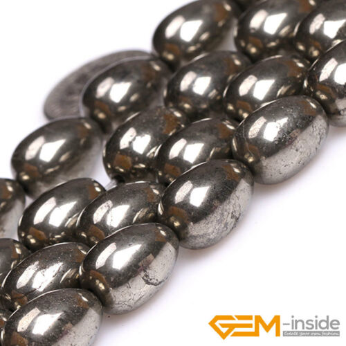 """Silver Gray Pyrite Loose Gemstone Teardrop Beads For Jewelry Making Strand 15/"""""""