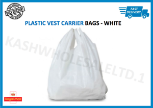 """1000 x WHITE PLASTIC VEST CARRIER BAGS 10x15x18/"""" *SPECIAL OFFER*"""