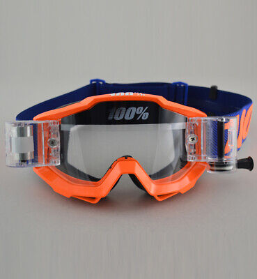 100/% PERCENT ACCURI MOTOCROSS GOGGLE ORIGAMI ORANGE with ROLL OFF CANISTERS