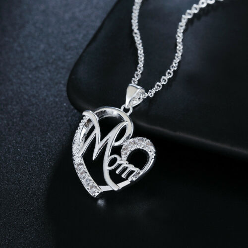 925 Sterling Silver wedding Necklace Jewelry Mother gift Fashion women crystal