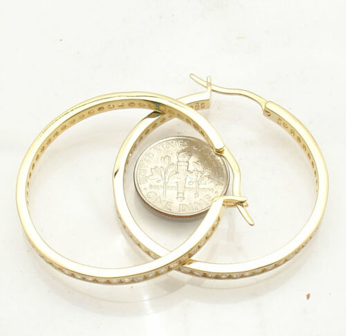 1.5 Channel Set Diamonique CZ Hoop Earrings 14K Yellow Gold Clad Real Silver