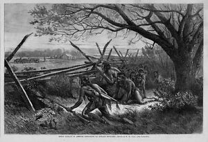SIOUX INDIANS IN AMBUSH PREPARING TO ATTACK SETTLERS, BY W. M. CARY, OXEN PLOW