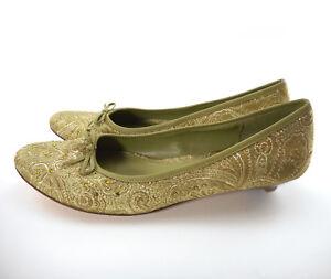 Nine-amp-Co-Women-039-s-Sz-9-M-Low-Heel-Shoes-Sage-Green-Jacquard-Floral-Jeweled-Toe