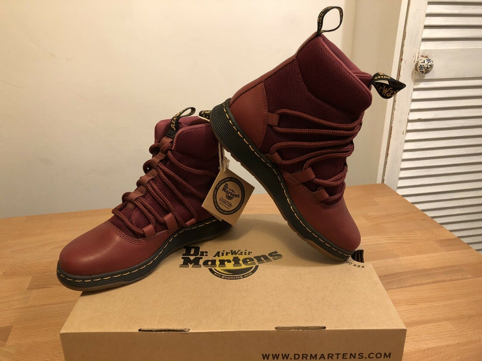 Dr. Martens Beasley Cherry Red Temperley Sport Spacer shoes  New  Only
