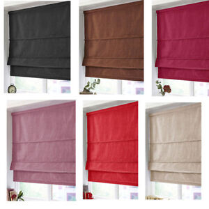 Blackout Faux Silk Roman Blinds 9 Colours 5 Sizes 2ft 6ft