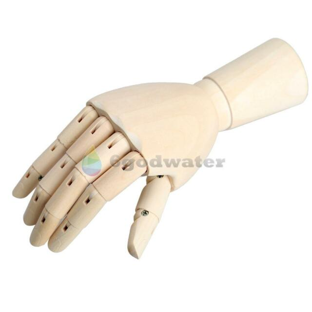 18*6cm Wooden Hand Body Artist Model Jointed Articulate Wood Sculpture Mannequin