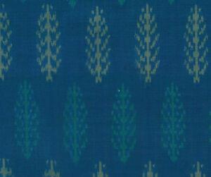 Silk-Cotton-Blend-Peacock-Blue-Green-Ikat-Hand-Woven-Soft-Fabric-44-034-Homespun