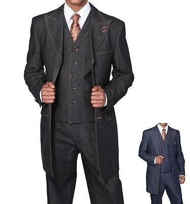 Men/'s 3pc 100/% Cotton Denim Three Button Fashion Suit w// Vest 5285V