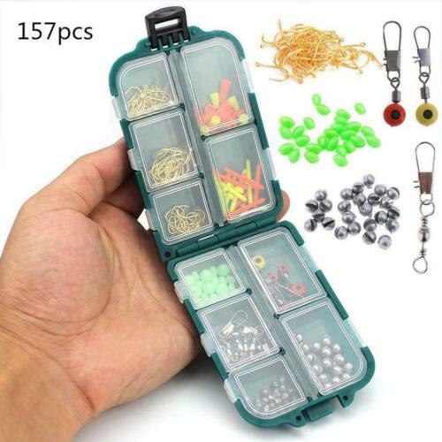 157pcs Fishing Kit Fishing Hook Rolling Swivel Lead Fish Drop Luminous C8Z5