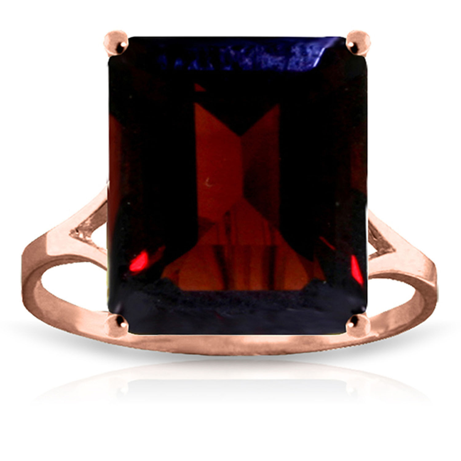 Brand New 7 Carat 14K Solid pink gold Ring Natural Octagon Garnet