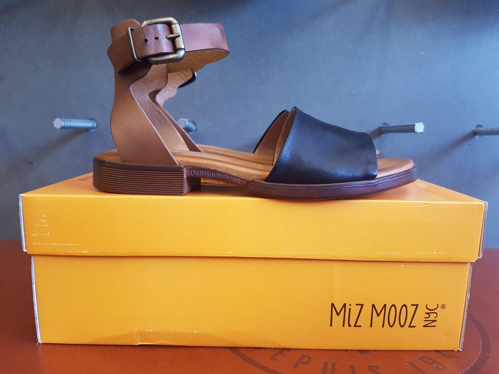 Nuevo en la caja Miz Mooz Moore Portugal Sandalias de cuero negro hecho a mano para mujeres