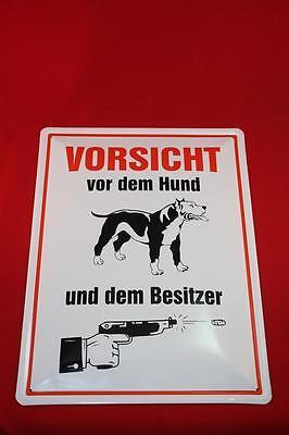 Vorsicht Vor Dem Hund - Und Dem Besitzer Blechschild 40x30 Cm Warnschild Pitbull Angenehm Im Nachgeschmack