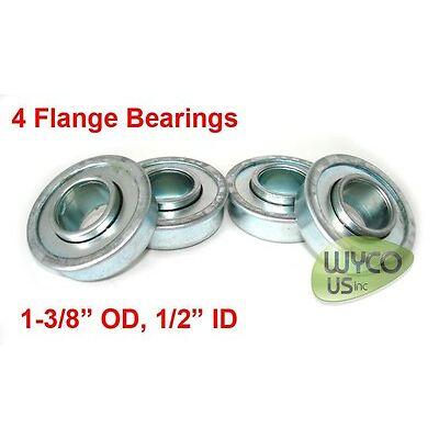 """QTY.4, FLANGED BEARINGS 1/2"""" ID x 1-3/8"""" OD, FOR GO-KARTS, LAWNMOWERS & MORE"""