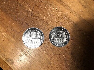 Set Of 2 New York State NY Lottery Scratcher Coin Token Scratch Off Metal Promo