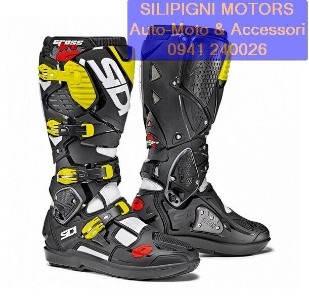 SIDI CROSSFIRE 3 SRS BIANCO/NERO/GIALLO FLUO Stivali Moto Cross Enduro Off Road
