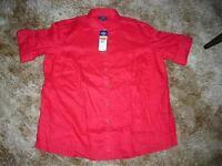 Chaps Red Roll-tab / Long Sleeve Shirt Linen Women's Plus Size 1x, 2x$60nwt