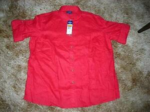 Chaps-RED-Roll-Tab-Long-Sleeve-Shirt-Linen-Women-039-s-Plus-Size-1X-2X-60-NWT
